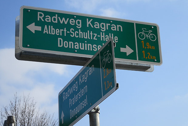 In einem Zug vom Nordrand bis zur Urania: Der Themenradweg Kagran verbindet Leopoldau mit der Innenstadt und dem Ring-Radweg.
