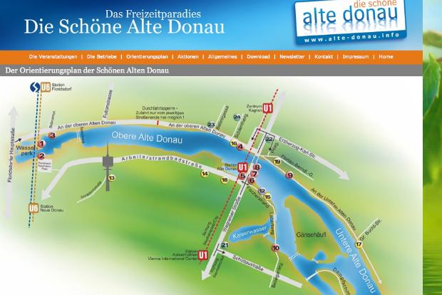 Die Alte Donau ist ein stehendes Gewässer. Gelegenheiten zum Laufen gibt es entlang des ganzen Ufers.