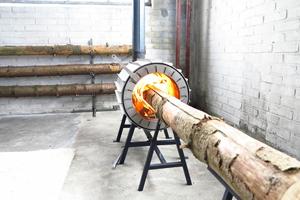 Holzhacken War Einmal Ofen Verbrennt Ganzen Baumstamm