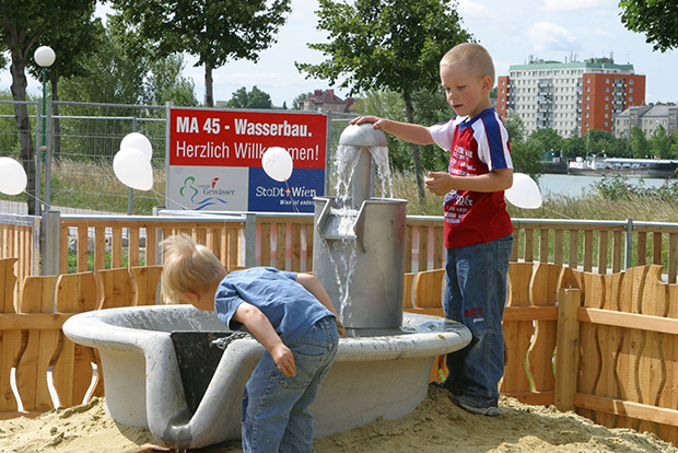Der Wasserspielplatz Donauinsel bietet viel zum Entdecken. Pressefoto Votava