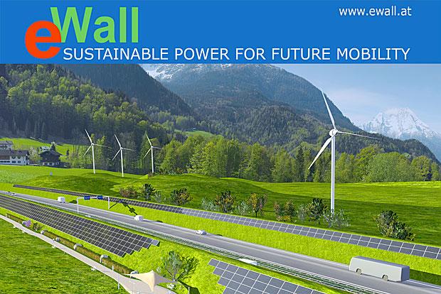 Der E-Wall erzeugt Strom direkt an der Autobahn