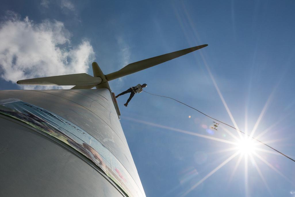 """Am """"Tag des Windes"""" war es möglich ein Windrad hinunter zu laufen. © IG Windkraft Astrid Knie"""