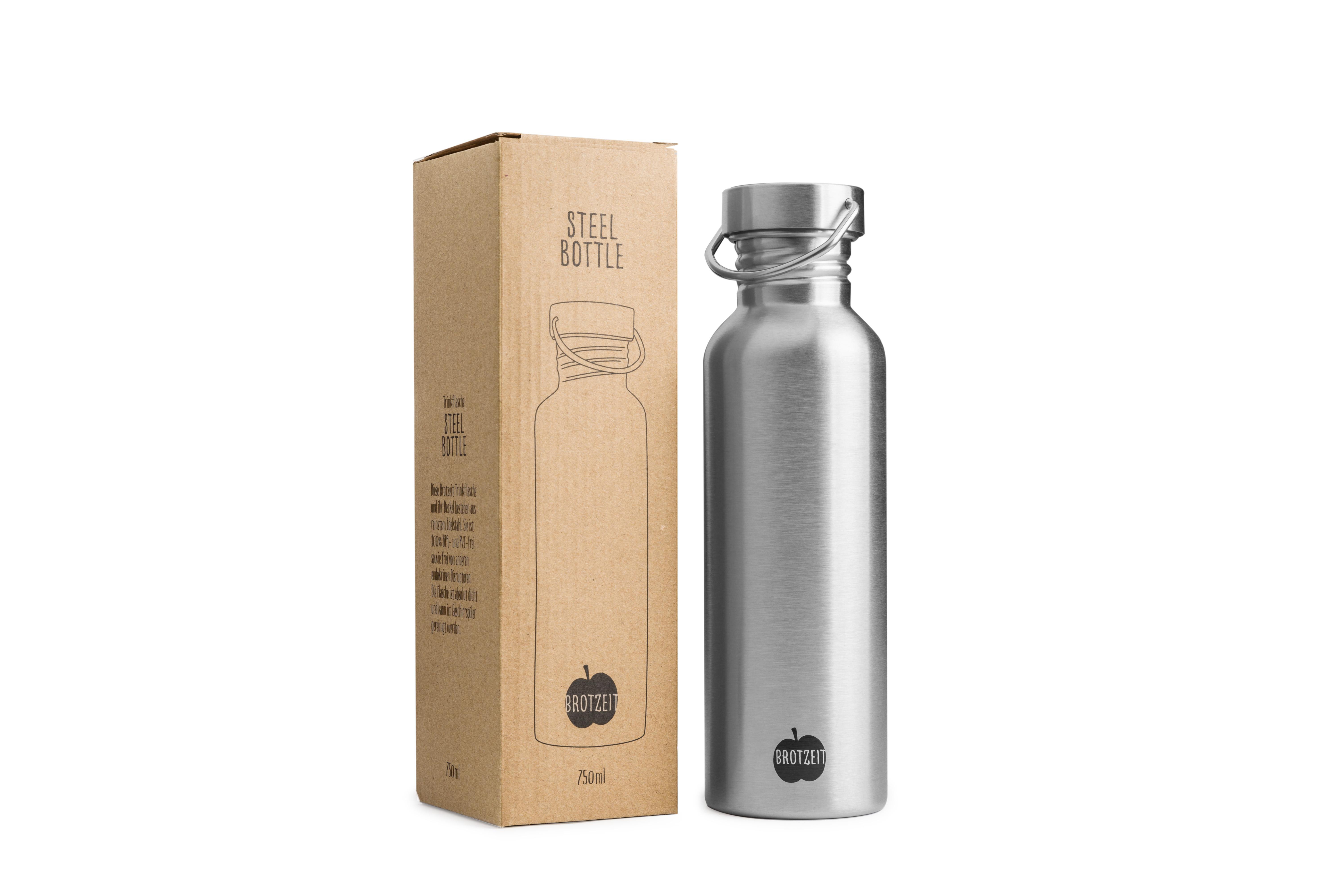 Edelstahlflaschen eignen sich bestens für unterwegs, Zudem halten sie ihren Inhalt lange warm, oder kalt, je nachdem womit sie gefüllt sind. Fotocredit: pure and green