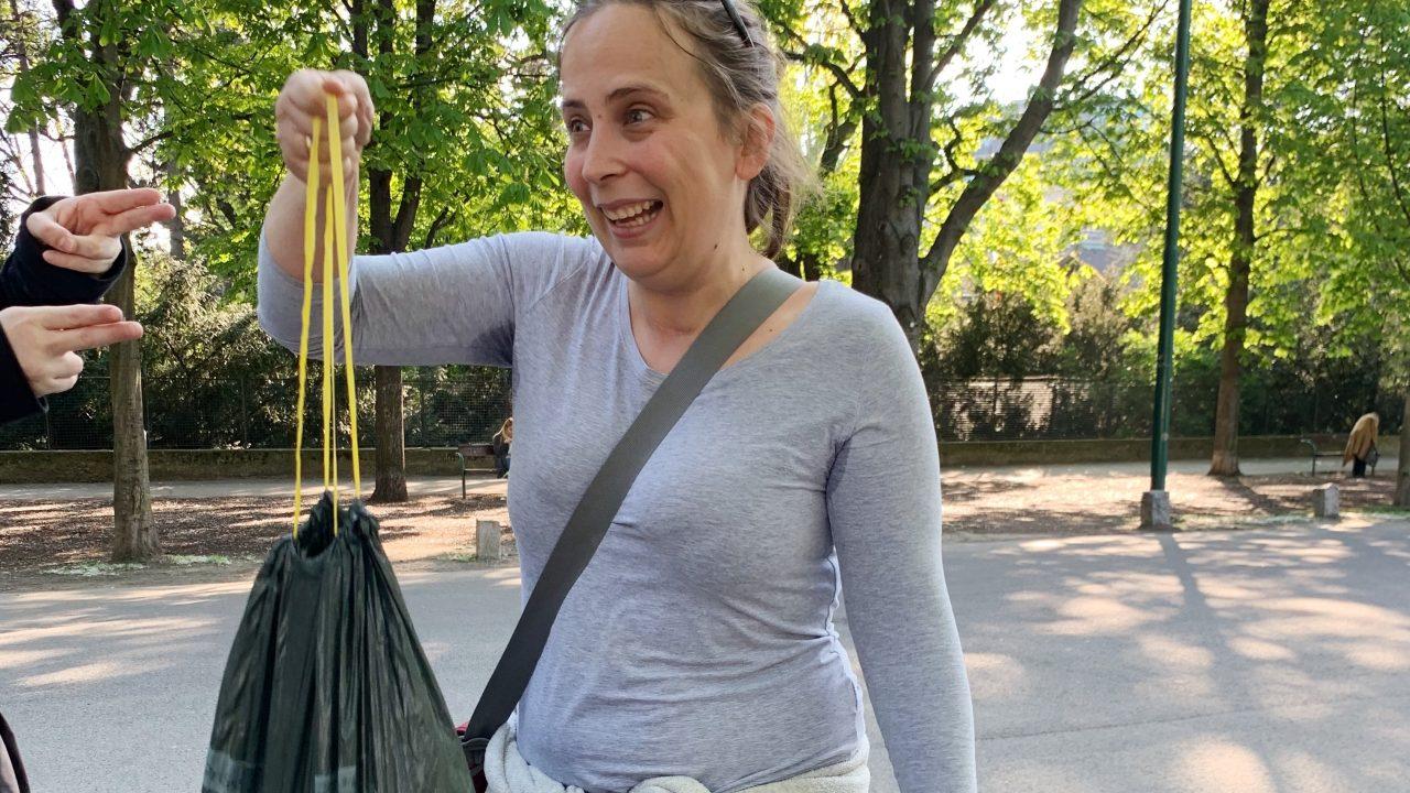 Müllsammlerin des Tages Anke. Fotocredit: Energieleben Redaktion