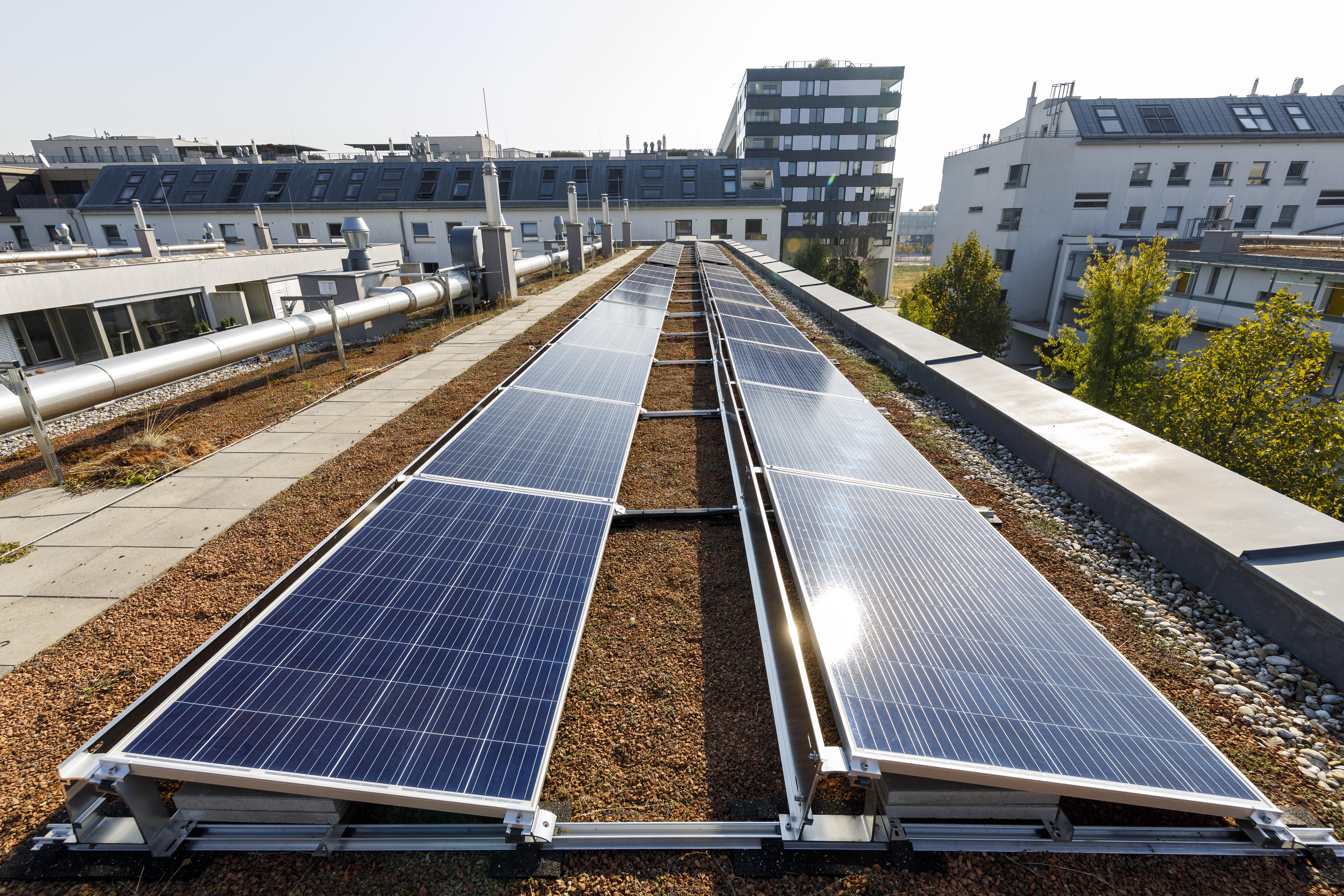 Montage der Photovoltaik-Anlage in 1220 Wien, Lavaterstraße; © Wien Energie/FOTObyHOFER/Christian Hofer