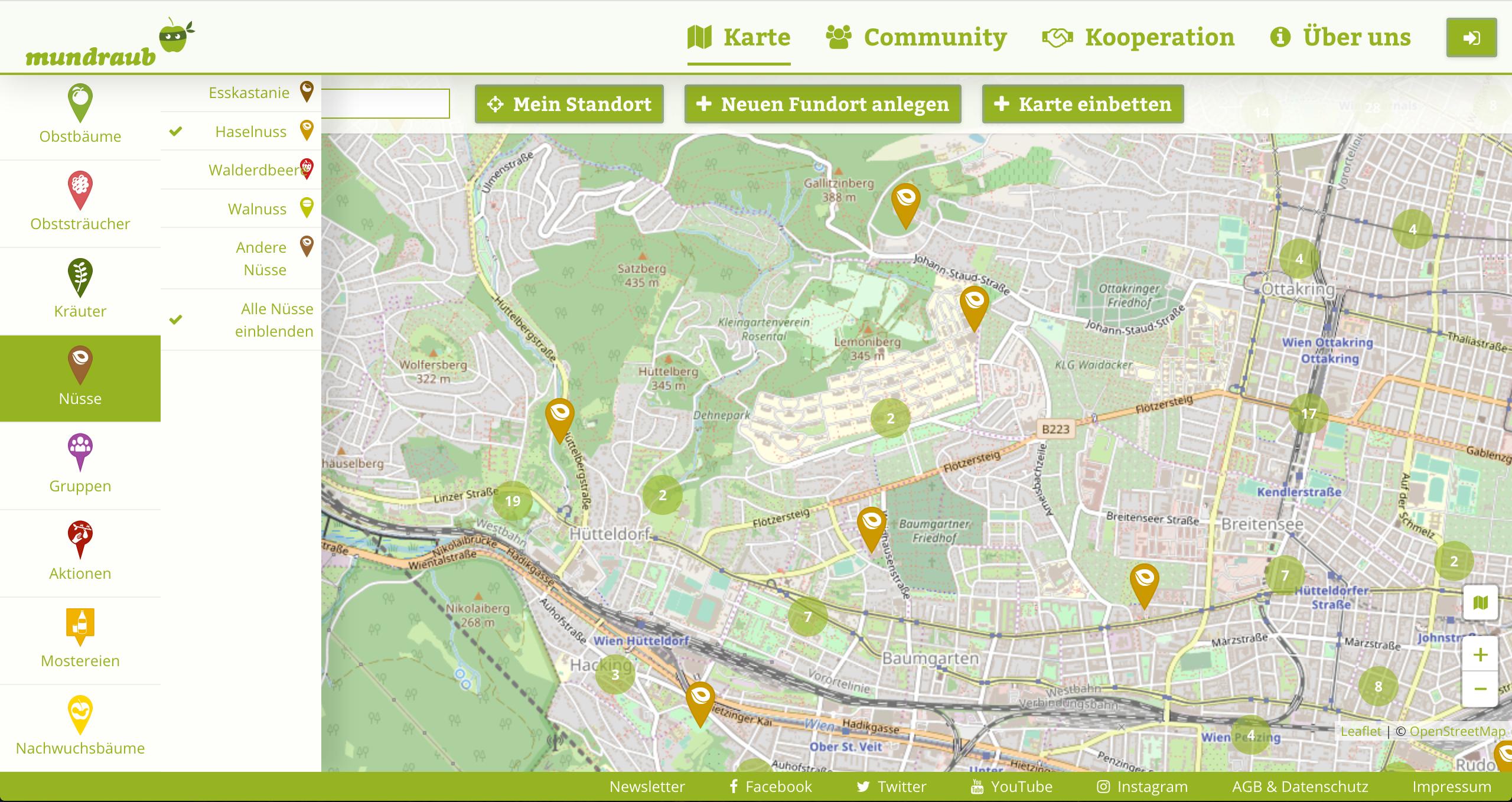 Ein Ausschnitt der Karte auf mundraub.org / Fotocredit: mundraub.org
