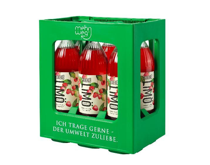 """""""Ich trage gerne – der Umwelt zuliebe"""" heißt es auf der Kiste mit der Radlberger LIMÖ im 1-Liter-Gebinde. """"Die Flaschen können bis zu 50 Mal befüllt werden. Die Kiste ist zwar aus Kunststoff, hat dafür aber eine quasi ewige Lebensdauer."""" – Foto: © Egger Getränke"""