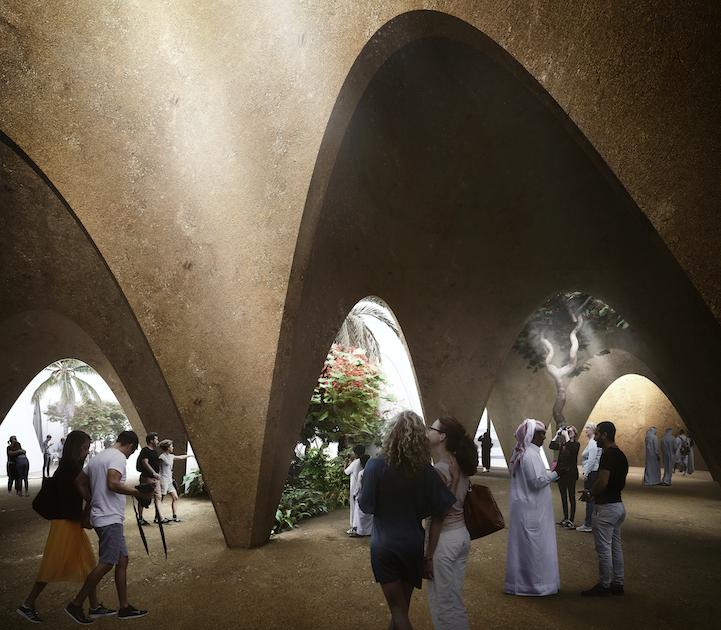 Sakrale Sinnlichkeit soll das Innere des Pavillons ausstrahlen. Rendering: © querkraft/Patricia Bagienski