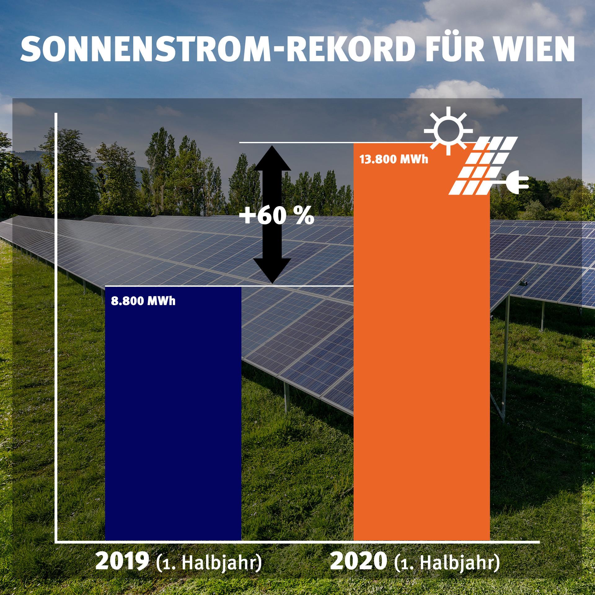 Das erste Halbjahr 2019 im direkten Vergleich zu heuer: Eine eindrucksvolle Steigerung. Grafik: © Wien Energie