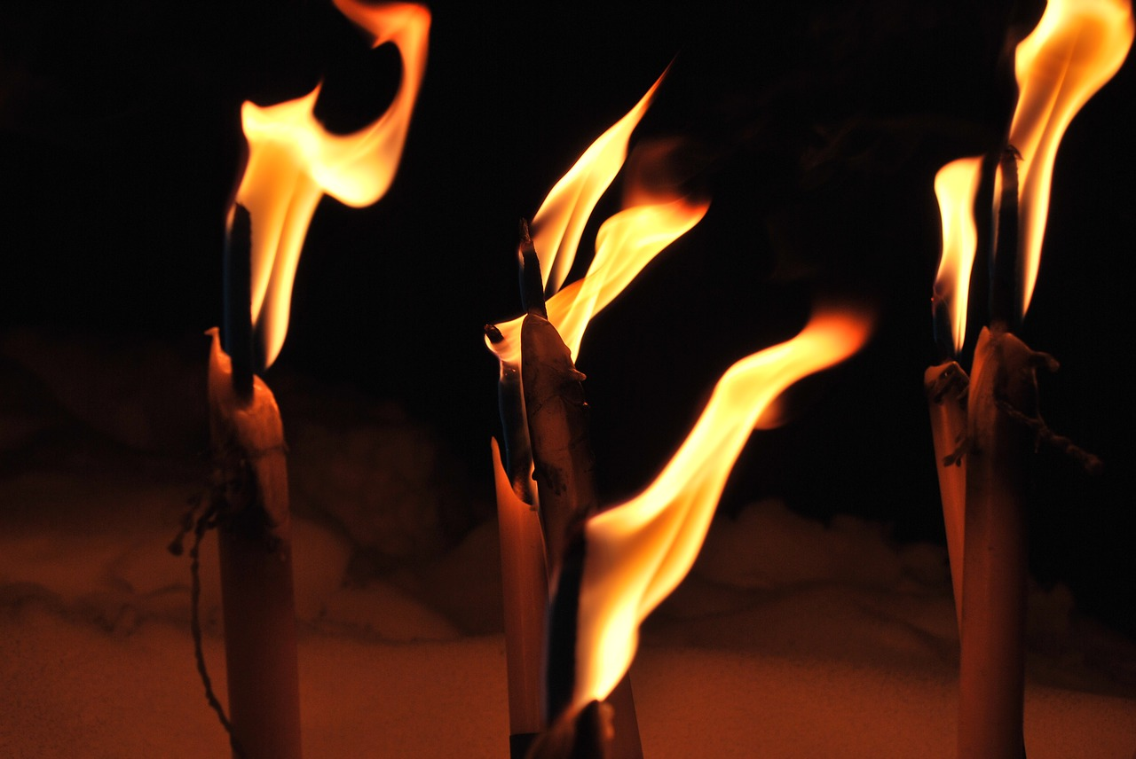 Fackeln in der Dunkelheit lassen die Silvesternacht ebenso erstrahlen und sind eine schöne Alternative zu Feuerwerkskörpern, die Umwelt und Tiere belasten. Fotocredit: © barthelskens/Pixabay