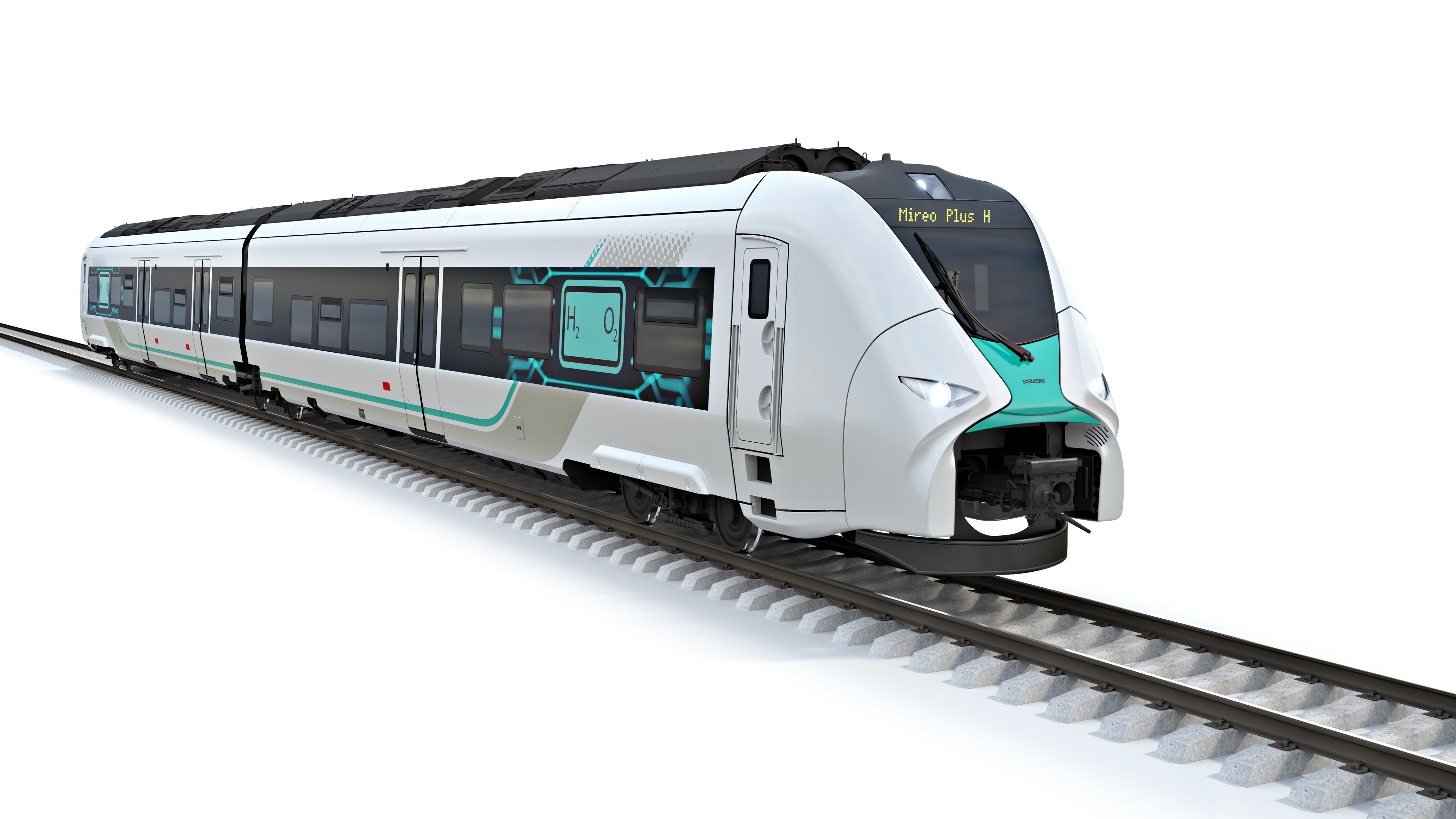 Der von Siemens Mobility gebaute Mireo Plus H wird mit einem neu entwickelten Wasserstoffantrieb ausgerüstet und soll bei einer Reichweite von 600 Kilometern so leistungsfähig wie elektrische Triebzüge sein. Fotocredit: © Siemens