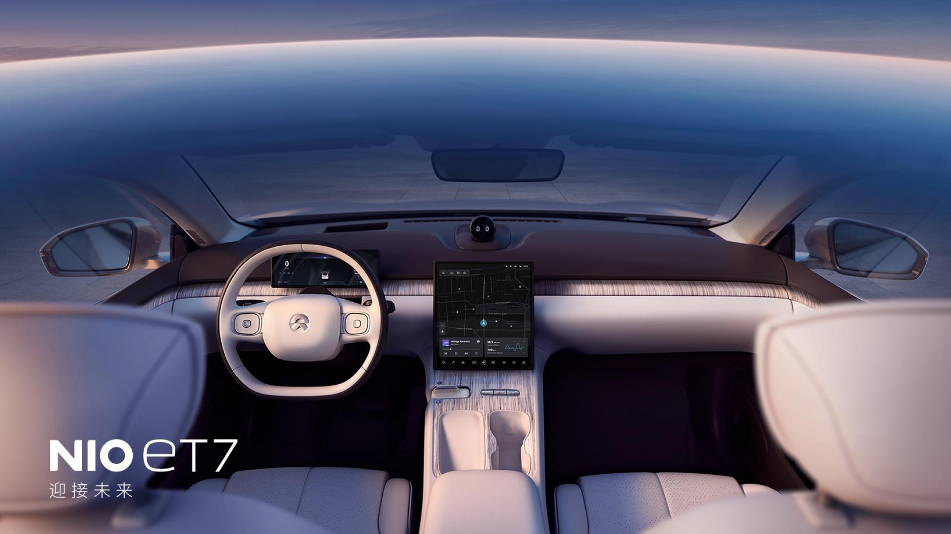 Das Mitteldisplay der ET7 Limousine von Bio soll mit hohem Kontrast und bester Auflösung überzeugen. Fotocredit: © NIO – www.nio.com