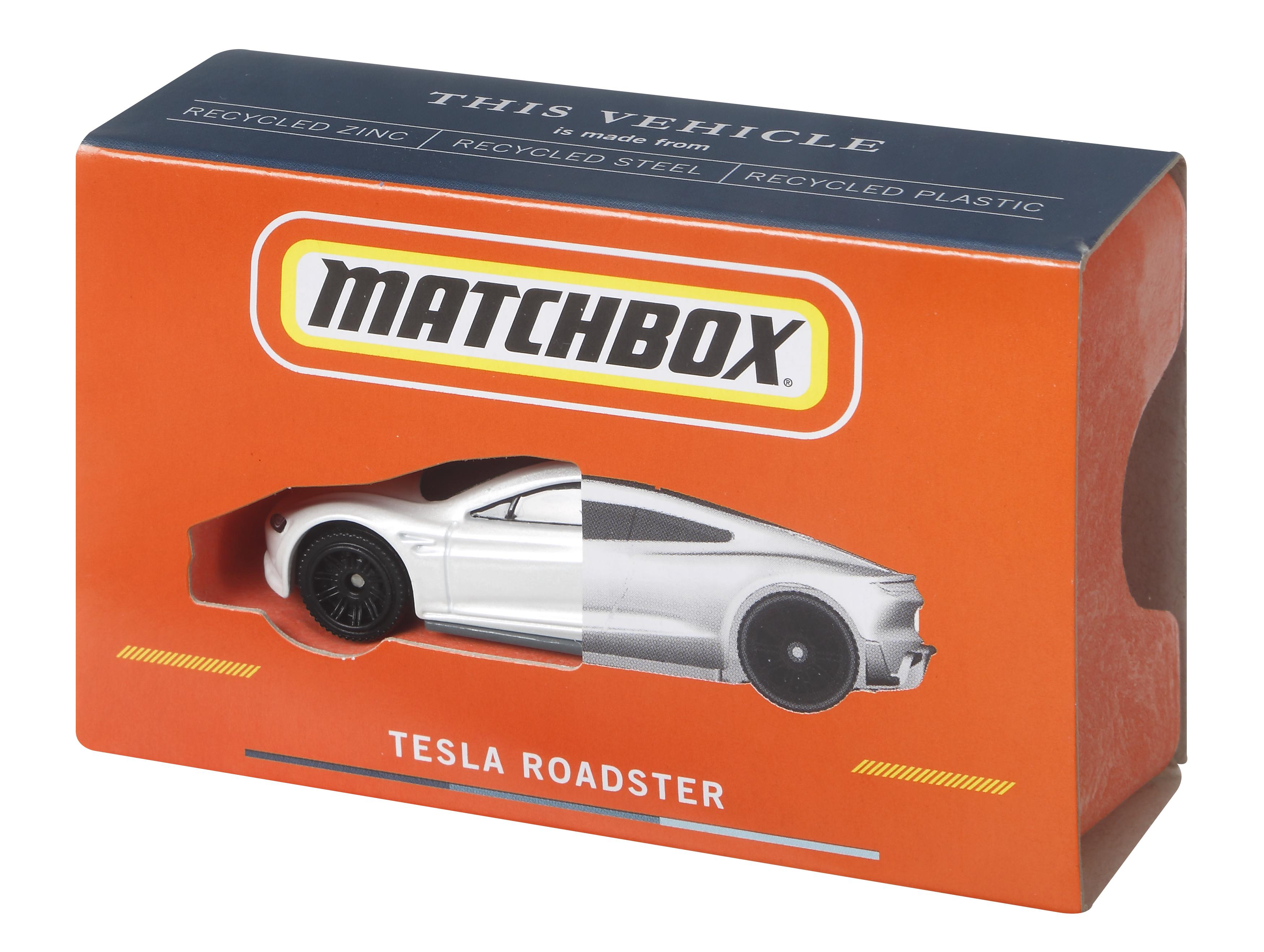 Der originalgetreue Matchbox Tesla im Maßstab 1:64 kommt in einer plastikfreien Verpackung aus FSC-zertifiziertem Papier sowie entsprechenden Holzfasern. Fotocredit: © Mattel