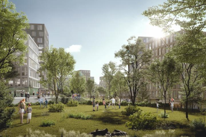 Beitragsbild: Viel grün und nachhaltig konzipiert: Das Village im Dritten hat sich in Punkto Innovation viel vorgenommen. Fotocredit: © Superblock ZT GmbH/ARE